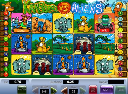 Kangaroo vs Aliens juega el tragamonedas en línea por dinero